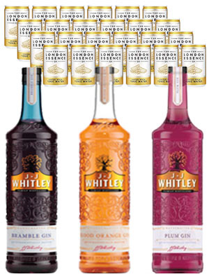 Buy any 3 JJ Whitley 70cl spirits and receive 24 London Essence tonic cans free