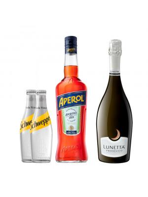 Aperol Spritz Bundle incl. Aperol Aperitif 70cl, Lunetta Prosecco 75cl & 2 x Schweppes Soda Water 200ml