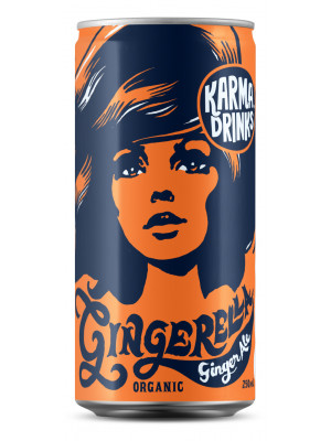 Karma Cola Organic Fairtrade Gingerella Ginger Ale Cans 24 x 250ml