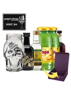 HALLOWEEN SPIRIT BOX GIFT SET (Zombie Cocktail incl DMF Skull Glass, DMF Spiced Rum 5cl, Wray & Nephew 5cl, 2x Pago Pineapple, Grenadine 5cl, Gift Box + Free seasonal sticker)