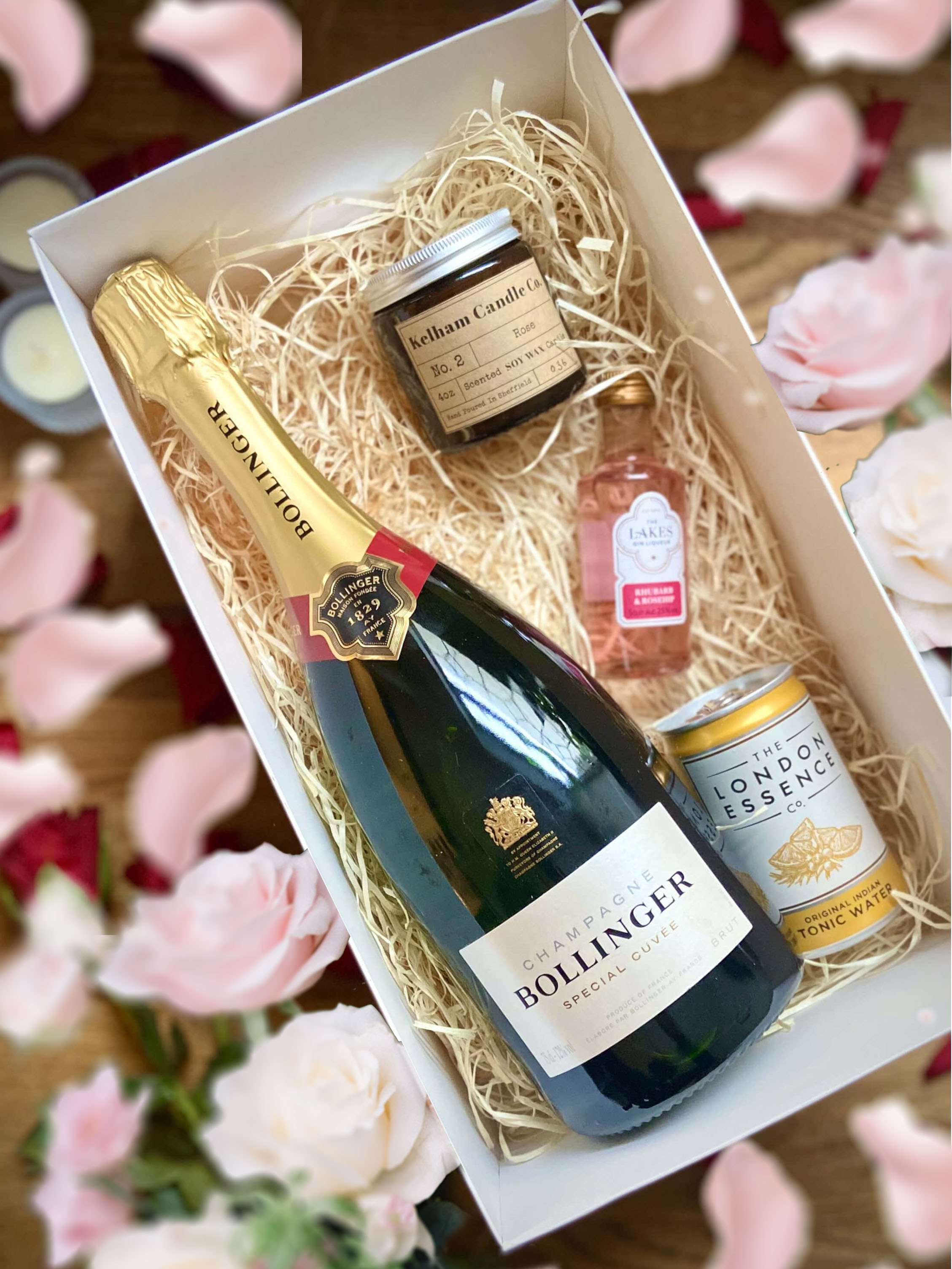 Bollinger Special Cuvee Standard 75cl, 4oz Kelham Candle, Lakes Gin Rhubarb and Rosehip 5cl and London Essence Tonic can 150ml Set
