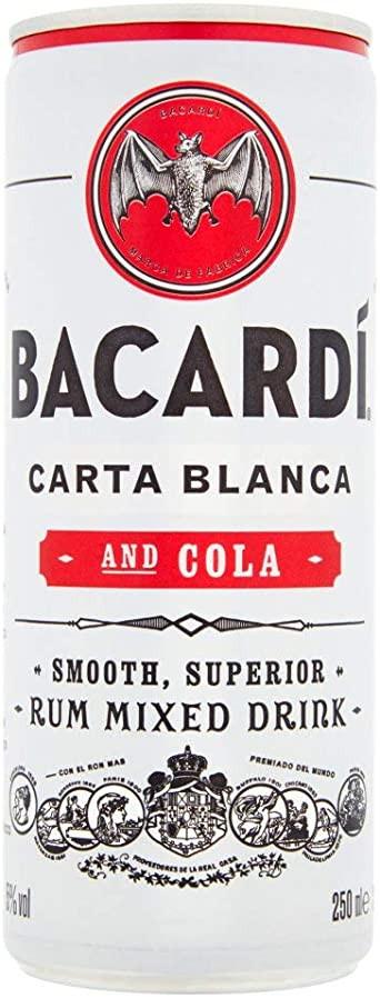 Bacardi Carta Blanca and Cola Cans 12 x 250ml