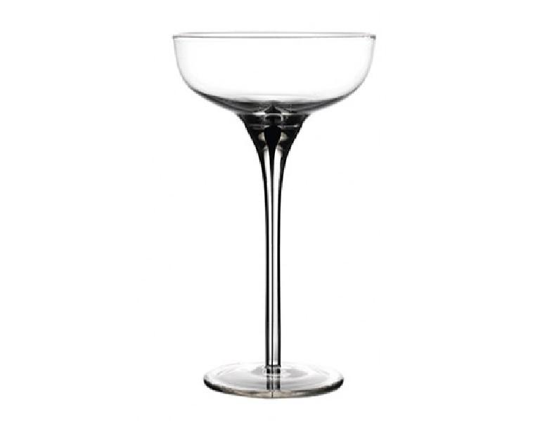 Black Murano Champagne Coupe 6.5 oz 18.5cl