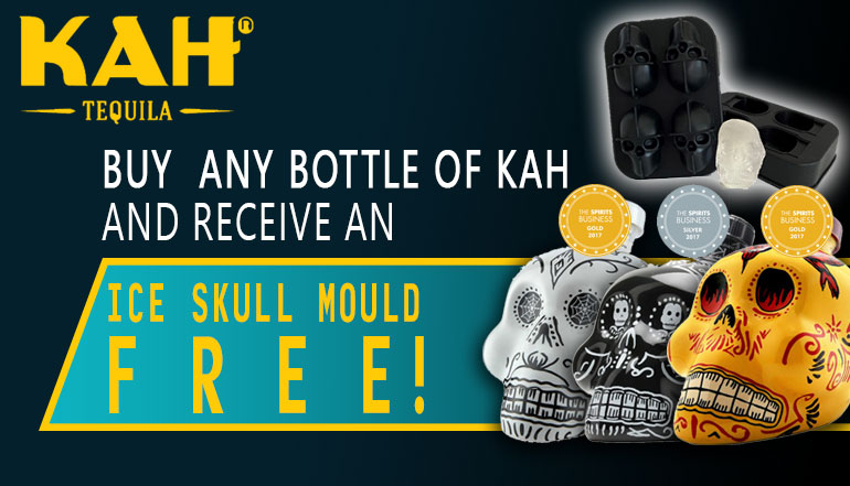 Buy any bottle of KAH and receive an ICE SKULL MOULD FREE